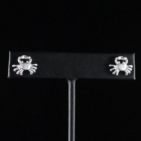 Crab Cancer Stopper Stud Earring in Sterling Silver