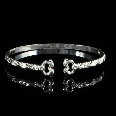 ***Clearance*** Flat West Indian Bangle with Dolphins and Calypso Pattern Handmade in 925 Sterling Silver