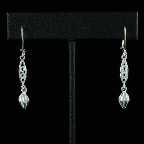 West Indian Cocoa Pod Long Earring in 925 Sterling Silver