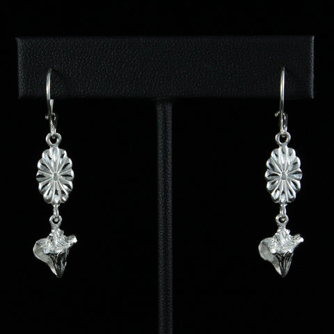 Caribbean Conch or Lambi Shell with Flower Earring Long in 925 Sterling Silver