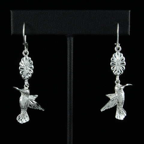 Large West Indian Humming bird with Extender Flower Long Earring in 925 Sterling Silver
