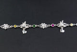 West Indian Chain Bracelet  with Grenada Flag stones & Humming bird with Heart charms - Handmade in 925 Sterling Silver