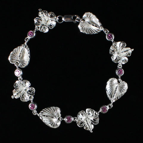 West Indian Chain Bracelet  with Anthurium and Hibiscus Flowers and Pink CZ Stones - Handmade in 925 Sterling Silver