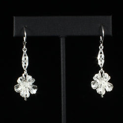 Large Hibiscus Flower with Extender Bar Long Earring in 925 Sterling Silver