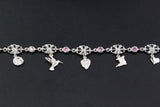 West Indian Chain Bracelet  with Flower & Pink CZ Links and Trinidad Charms - Handmade in 925 Sterling Silver
