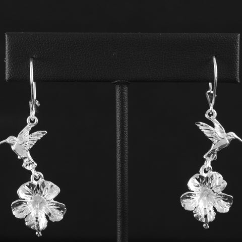 West Indian Humming Bird & Hibiscus Flower Long Earring in 925 Sterling Silver