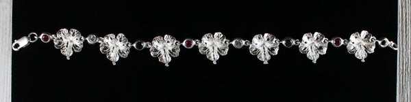 West Indian Chain Bracelet  with Large Hibiscus Flower with T&T Flag Stones  - Handmade in 925 Sterling Silver