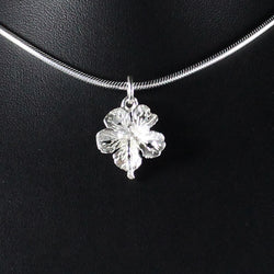 West Indian Large Hibiscus Flower Pendant in 925 Sterling Silver