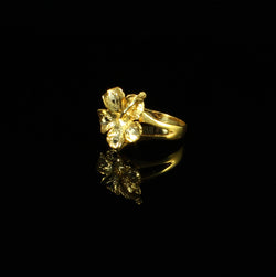 Solid Large Hibiscus Flower Ring made in 10K Yellow Gold