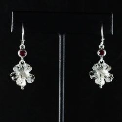 Large Hibiscus Flower with Red Stone July Birthstone Earring Long in 925 Sterling Silver