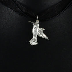 Large West Indian Humming Bird Pendant in 925 Sterling Silver