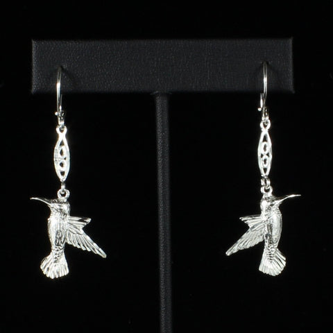 Large West Indian Humming bird with Extender Bar Long Earring in 925 Sterling Silver