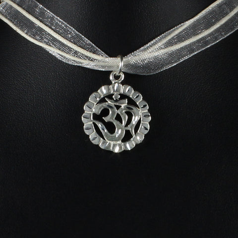Large OM Pendant in 925 Sterling Silver
