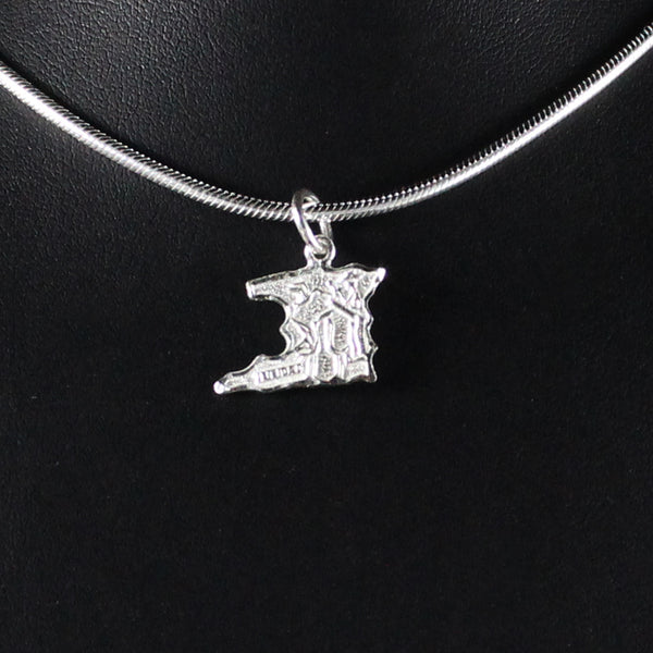 Large Trinidad Map Pendant in 925 Sterling Silver