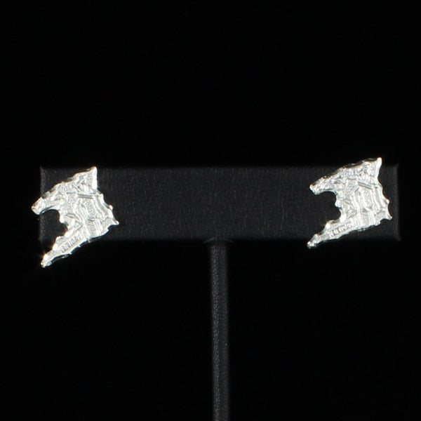 Caribbijou Large Trinidad Map Stopper Stud Earring in Sterling Silver