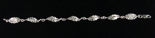 West Indian Chain Bracelet with Leaves - Handmade in 925 Sterling Silver