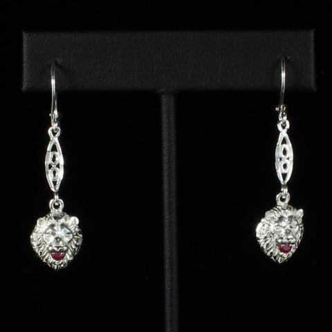 Leo Lion with Red stone on Bar extender Long Earring in 925 Sterling Silver