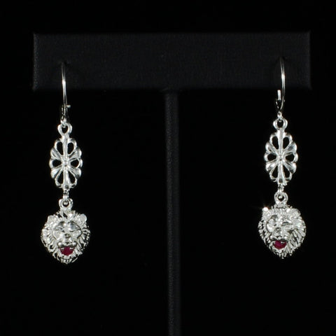 Leo Lion with Red stone on Hollow Flower extender Long Earring in 925 Sterling Silver