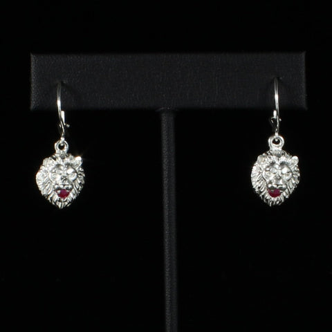 Leo Lion with Red stone Short Earring in 925 Sterling Silver