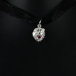 Caribbijou Leo Lion Pendant with Red Synthetic Ruby in 925 Sterling Silver