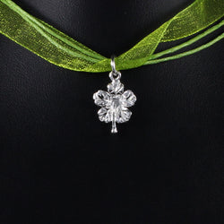 Medium West Indian Hibiscus Flower Pendent in 925 Sterling Silver