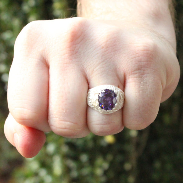 Large Men's Oval ring with February Birthstone Synthetic Amethyst made in 925 Sterling Silver