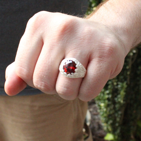 Large Men's Oval ring with January Birthstone Synthetic Garnet made in 925 Sterling Silver