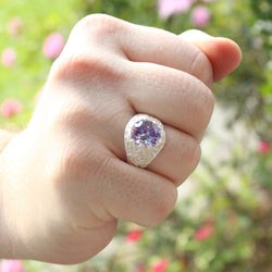 Large Men's Oval ring with June Birthstone Synthetic Light Amethyst made in 925 Sterling Silver