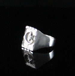 Large Men Moon and Star in Square ring made in 925 Sterling Silver
