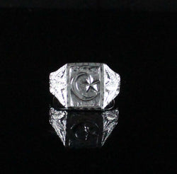 Large Men Moon and Star in Square ring with Leaf on Side made in 925 Sterling Silver