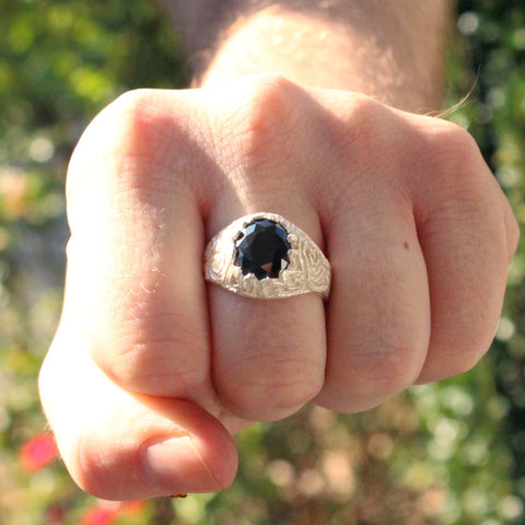 Large Men's Oval Onyx ring made in 925 Sterling Silver