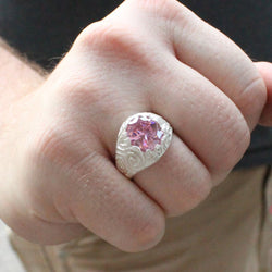 Large Men's Oval ring with October Birthstone Pink CZ made in 925 Sterling Silver