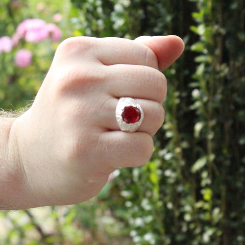 Large Men's Oval ring with July Birthstone Synthetic Ruby made in 925 Sterling Silver