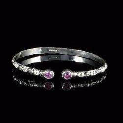 ***Clearance*** West Indian Bangle Narrow Churia Pattern Pink Synthetic Stone Handmade in 925 Sterling Silver