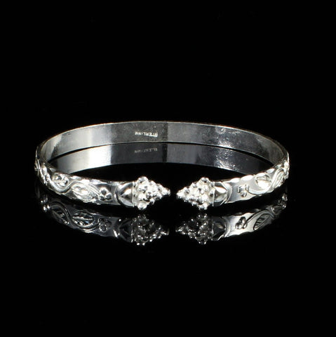 Flat Narrow West Indian Bangle with Shiny Vine Pattern and Grape Heads Handmade in 925 Sterling Silver