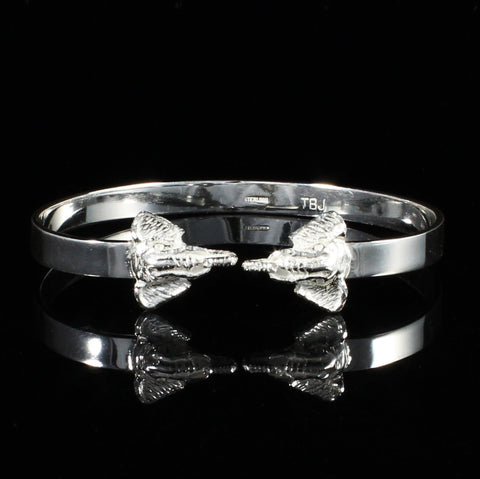 Flat Plain West Indian Bangle with Elephant Heads Handmade in 925 Sterling Silver