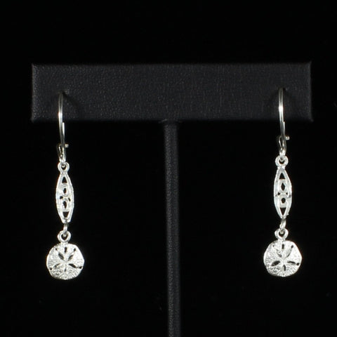 Caribbean Sand Dollar with Extender Bar Long Earring in 925 Sterling Silver