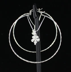 Large Hoop Earring with Small Hibiscus Charm and Latch Handmade in 925 Sterling Silver