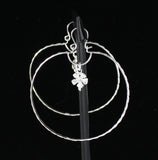 Large Hoop Earring with Small Hibiscus Charm Handmade in 925 Sterling Silver