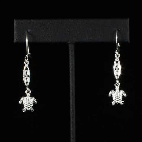 Caribbean Small Turtle with Extender Bar Long Earring in 925 Sterling Silver