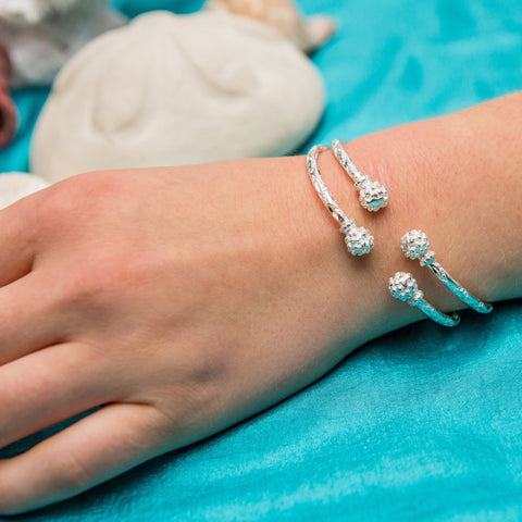 110 West Indian Bangle with Sugar Apple Handmade in 925 Sterling Silver - SOLD INDIVIDUALLY