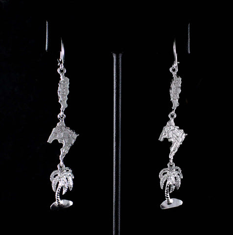 XLong Caribbijou Trinidad & Tobago Map with Coconut Tree Earring in 925 Sterling Silver