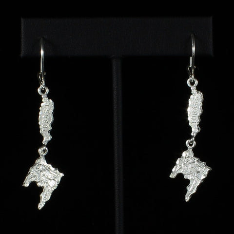 Caribbijou Trinidad & Tobago Map Long Earring in 925 Sterling Silver