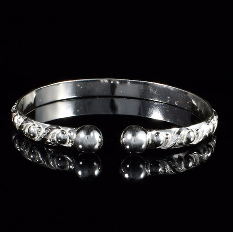 West Indian Bangle with Flat Wide Churia Pattern and Solid Ball Handmade in 925 Sterling Silver