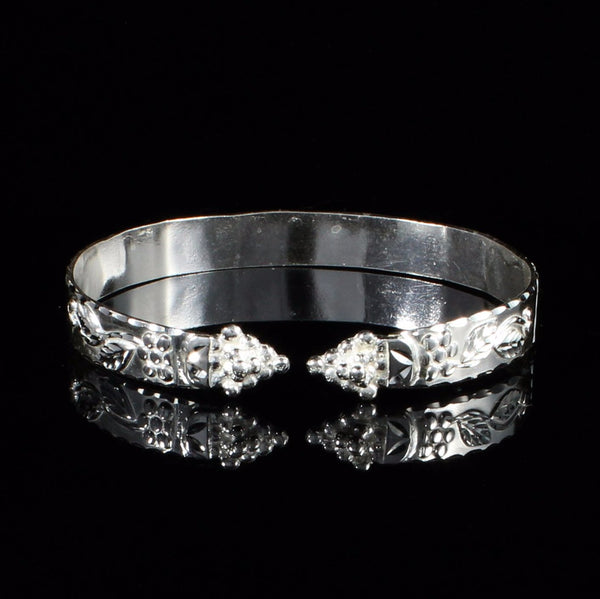 Flat Wide West Indian Bangle with Shiny Vine Pattern and Grape Heads Handmade in 925 Sterling Silver