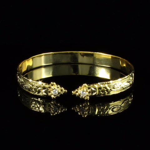 10k Yellow Gold Grape Vine Handmade Flat West Indian Bangle with White CZ Stone