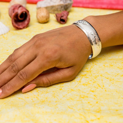 West Indian Wrist Band with Humming Bird and Hibiscus Flower Handmade in 925 Sterling Silver