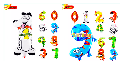 20 inches animal designs foil Number 2 balloon