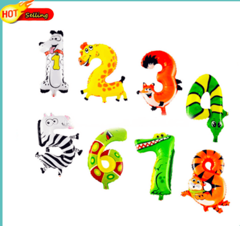 20 inches animal designs foil Number 7 balloon