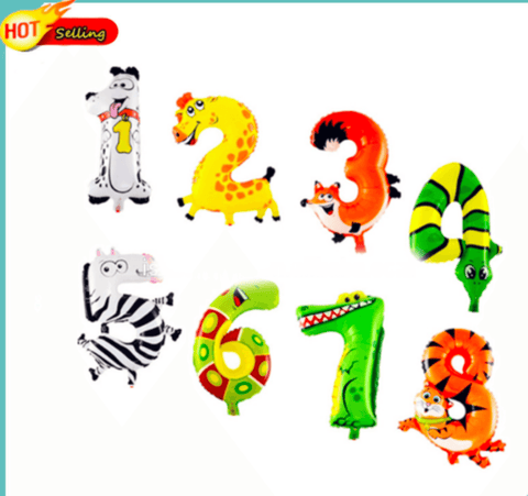 20 inches animal designs foil Number 5 balloon